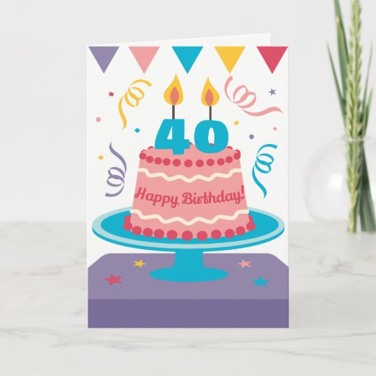 Swell 40Th Birthday Cake Customisable Card Zazzle Co Uk Funny Birthday Cards Online Elaedamsfinfo