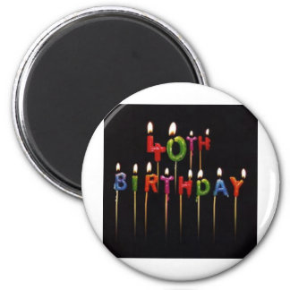 40th Birthday Candles 6 Cm Round Magnet