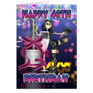 40th Birthday Card - Champagne Rag Doll