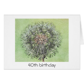 40th Birthday Card - Dandelion