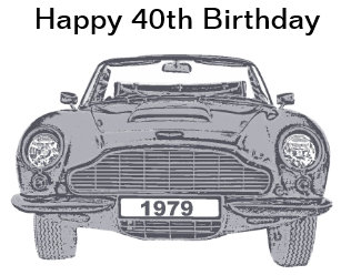 40th Birthday Card For British Classic Car Lovers