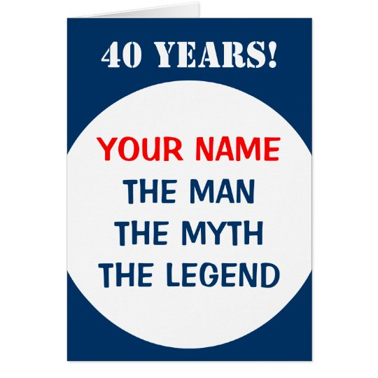 40th Birthday card for men | The man