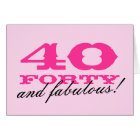 40th Birthday card for women   40 and fabulous