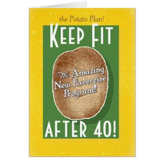 40th Birthday card: Potato Bag Fitness Program Greeting Card