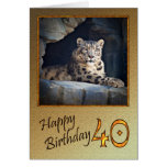 40th Birthday Card with a snow leopard