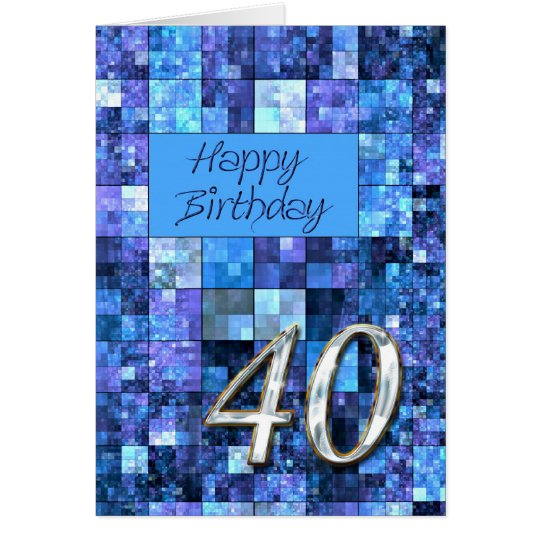 40th Birthday card with abstract squares.