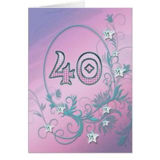 40th Birthday card with diamond stars