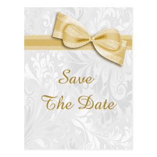 40th Birthday Damask and Faux Bow Save The Date Postcard