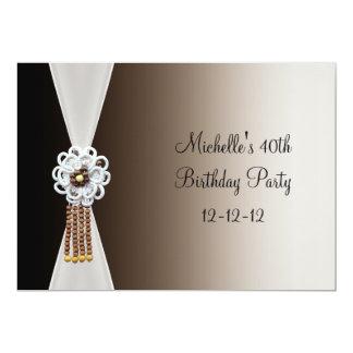 40th Birthday Elegant Black Cream Bead Jewel 13 Cm X 18 Cm Invitation Card