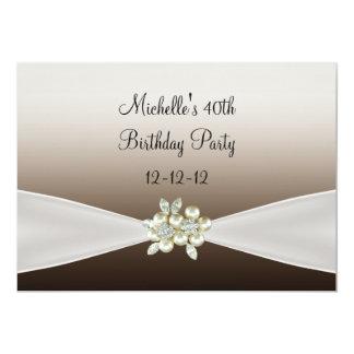 40th Birthday Elegant Black Cream Pearl Jewel 13 Cm X 18 Cm Invitation Card