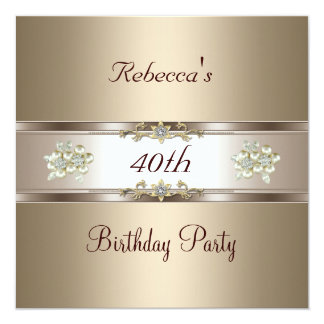 40th Birthday Elegant Coffee Cream Biege Invite