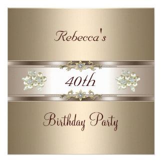 40th Birthday Elegant Coffee Cream Biege Invite Invite