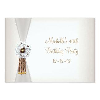 40th Birthday Elegant Cream White Bead Jewel 13 Cm X 18 Cm Invitation Card