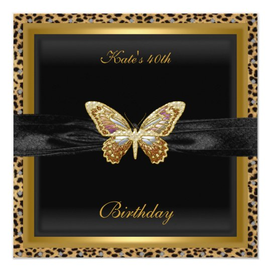 40th Birthday Elegant Leopard Gold Butterfly Card