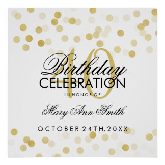 40th Birthday Faux Gold Foil Glitter Lights Poster