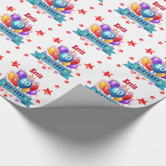 40th Birthday Festive Colourful Balloons C01CZ Wrapping Paper