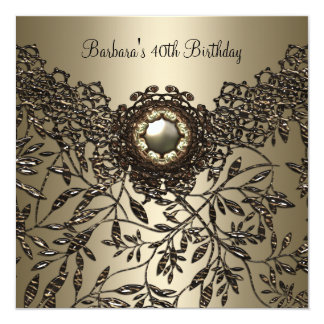40th Birthday Floral Lace Coffee Beige Jewel Gold 13 Cm X 13 Cm Square Invitation Card