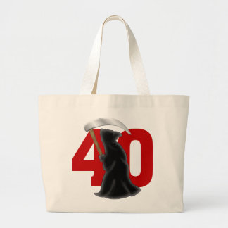 40th Birthday Funny Grim Reaper Large Tote Bag