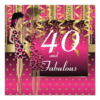 40th Birthday Girl Cocktail Party   Hot Pink 13 Cm X 13 Cm Square Invitation Card
