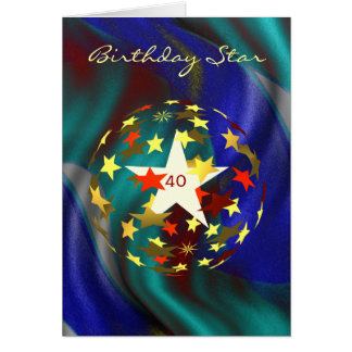 40th Birthday Globe of Gold and Red Stars Card