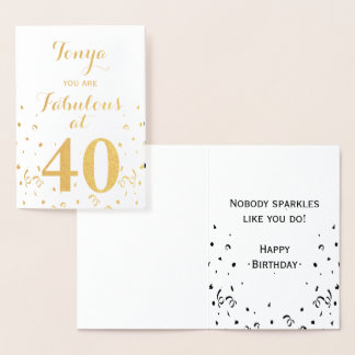 40th Birthday Gold Foil Fabulous at 40 Foil Card