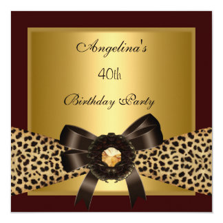 40th Birthday  Gold Leopard Coffee Brown Black 13 Cm X 13 Cm Square Invitation Card