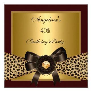 40th Birthday Gold Leopard Coffee Brown Black Invitation
