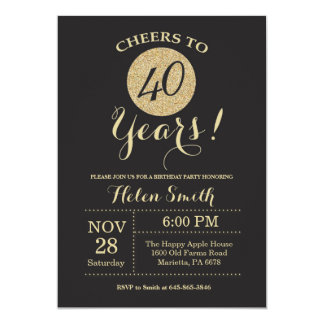 40th Birthday Invitation Black and Gold Glitter