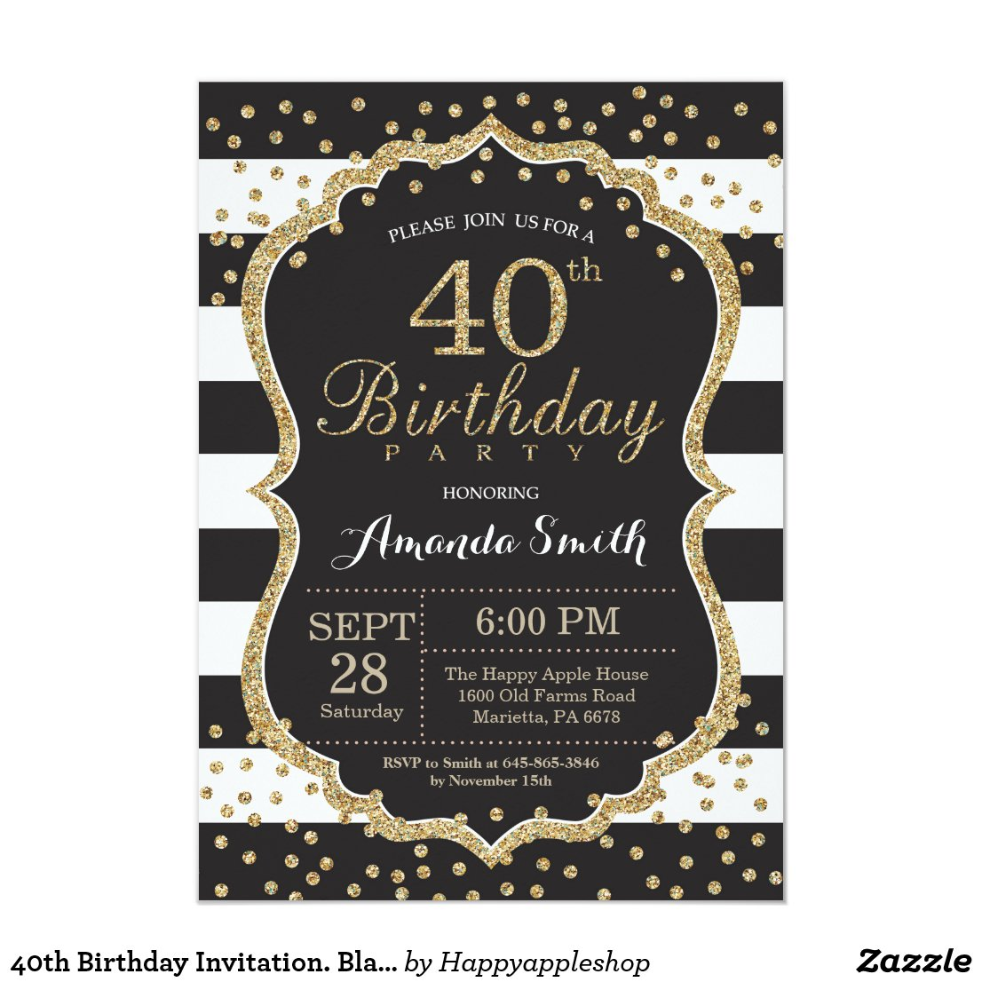 40th Birthday Invitation. Black and Gold Glitter