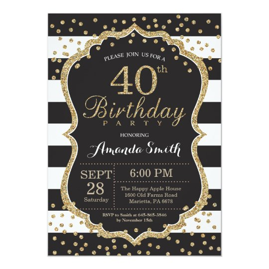40th Birthday Invitation. Black and Gold Glitter Card