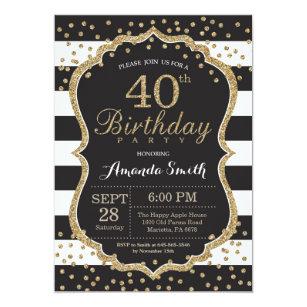 40th Birthday Invitation Black And Gold Glitter