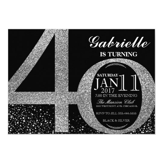 40th Birthday invitation, Black and silver glitter Card