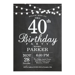 Black and white 40th birthday invitations announcements zazzle 40th birthday invitation chalkboard string lights stopboris Image collections