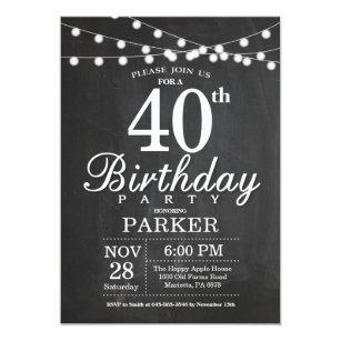 40th birthday invitations announcements zazzle 40th birthday invitation chalkboard string lights filmwisefo
