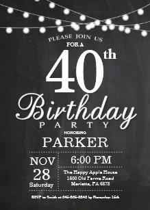 40th birthday invitations announcements zazzle uk 40th birthday invitation chalkboard string lights filmwisefo Choice Image