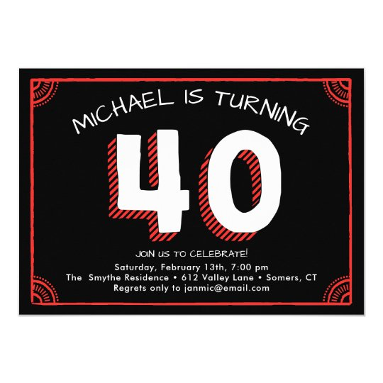 40th Birthday Invitation, Red and Black Card