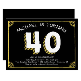 40th Birthday Invitation, Yellow Card