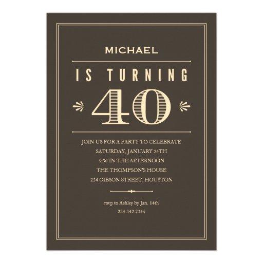 40th Birthday Invitations for Men