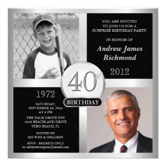 40th Birthday Invitations Then Now Photos