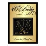 40th Birthday Invitations - Zodiac Sign Libra