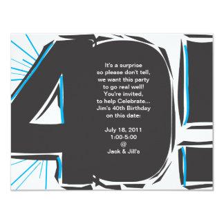 """40th Birthday Invite 4.25"""" X 5.5"""" Invitation Card"""