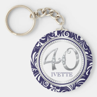 40th Birthday Key Chain-Navy Blue & Silver Key Ring
