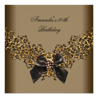40th Birthday Lace Coffee Brown Gold Wild Jewel 13 Cm X 13 Cm Square Invitation Card