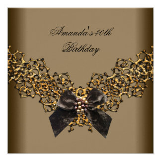 40th Birthday Lace Coffee Brown Gold Wild Jewel Personalized Invites