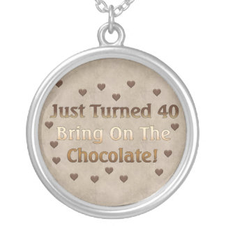 40th Birthday Means Chocolate Round Pendant Necklace