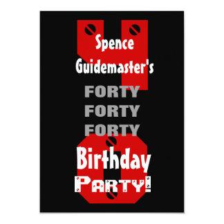 40th Birthday Modern Black Red White Rivets B475 Card