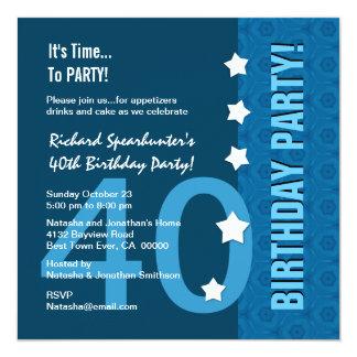 40th Birthday Modern Hues of Blue Funny D40B 13 Cm X 13 Cm Square Invitation Card