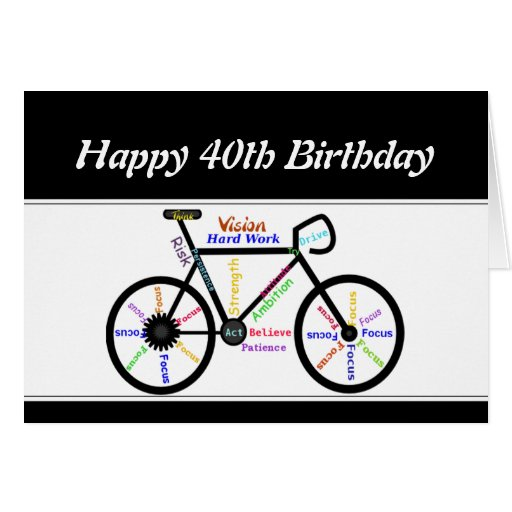 40th Birthday Motivational Bike Bicycle Cycling Cards
