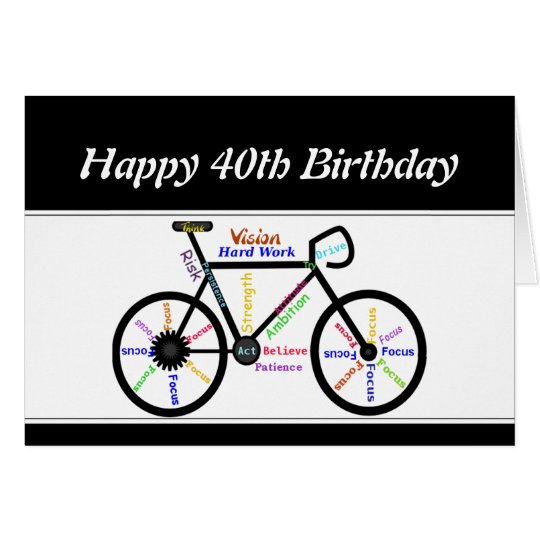 40th Birthday Motivational Bike Bicycle Cycling Card
