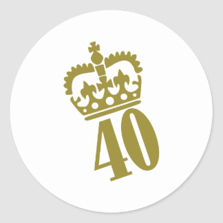 40th Birthday - Number – Fourty Classic Round Sticker